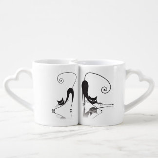 Black Cat Lovers' Mug Set - 1 Lovers Mug