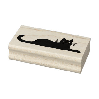 Black Cat Lying Down Rubber Stamp