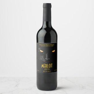 Black Cat Magic funny customisable Wine Label