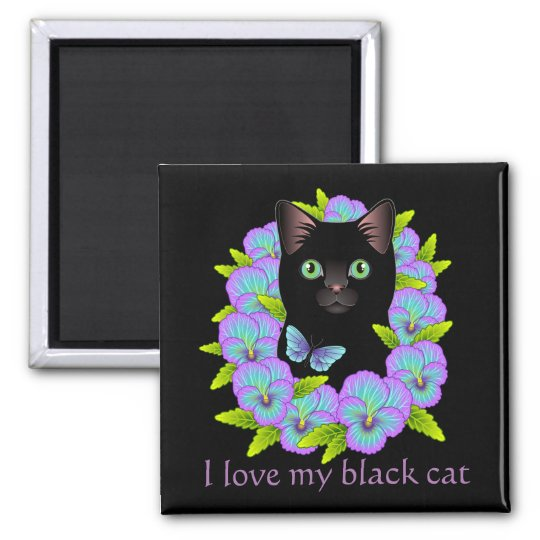 Black Cat Magic Good Luck Magnet - cute