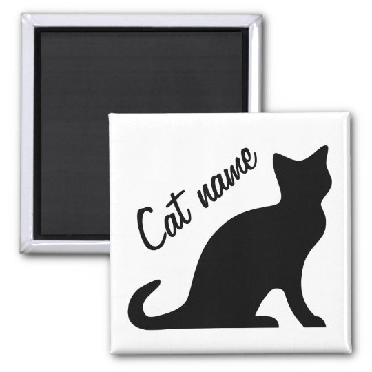 Black cat magnets | Personalizable pet name