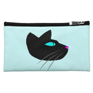 """""""BLACK CAT"""" MEDIUM SUEDED BLUE COSMETIC BAG"""