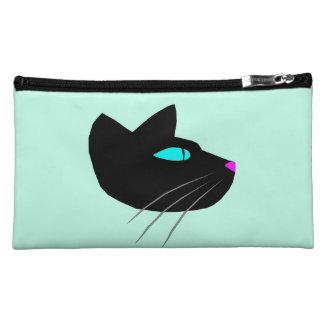 """""""BLACK CAT"""" MEDIUM SUEDED GREEN COSMETIC BAG"""