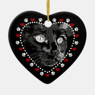 Black Cat Merry Yule Heart Ornament