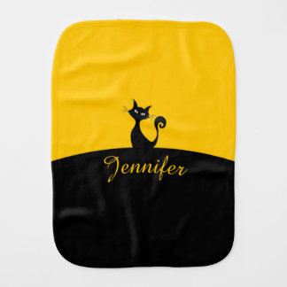 Black Cat Minimal Art, Your Name Burp Cloth