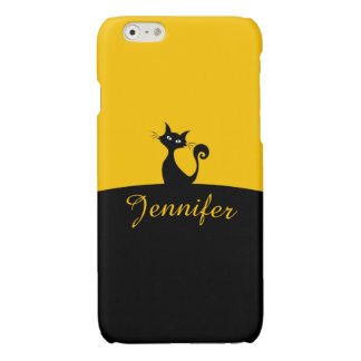 Black Cat Minimal Art, Your Name iPhone 6 Plus Case