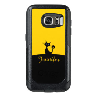 Black Cat Minimal Art, Your Name OtterBox Samsung Galaxy S7 Case