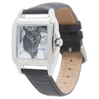 Black cat modern watch square