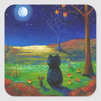 Black Cat Moon Fall Leaves Creationarts Square Sticker