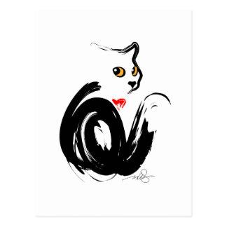 Black Cat 'n' Heart Postcard