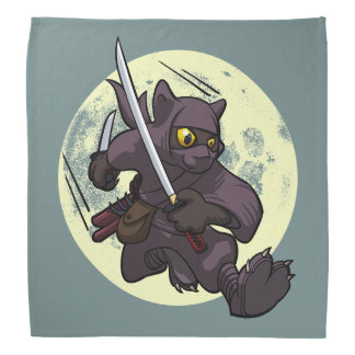 Black Cat Ninja Katana Swords Flying Kick Cartoon Bandannas