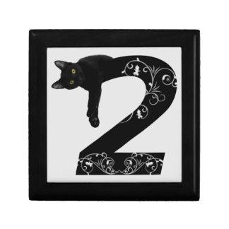 Black cat No.2 Small Square Gift Box