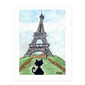 Black cat Noir Chat Looking at Eiffel Tower Art Postcard