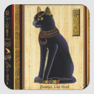 BLACK CAT OF THE LUCK SQUARE STICKER