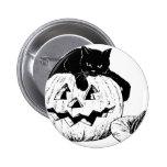Black Cat On A Pumpkin Pins