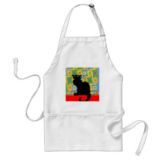 Black Cat on Abstract Wallpaper Standard Apron