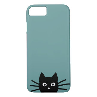 Black Cat on Blue (Color is Customizable) iPhone 7 Case
