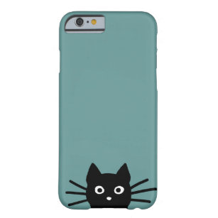 Black Cat on Blue (Colour is Customisable) Barely There iPhone 6 Case
