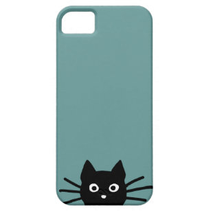 Black Cat on Blue (Colour is Customisable) iPhone 5 Cover