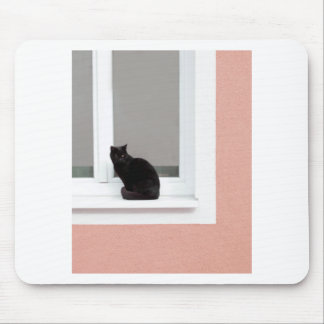 Black Cat on Coral Mouse Pad