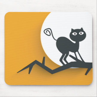 Black cat on dead tree branch mouse pad