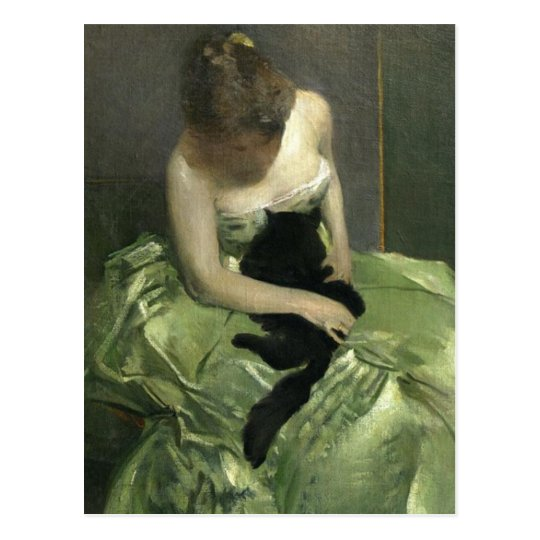 Black Cat on Green Gown Postcard