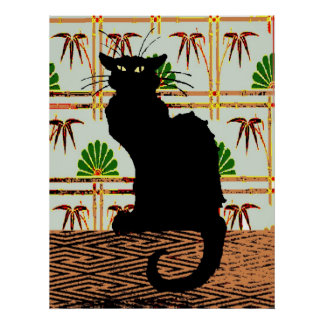 Black Cat on Japanese Wall Paper, Poster