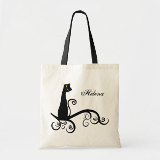 Black Cat On Swirly Branch Personalized Canvas Bags