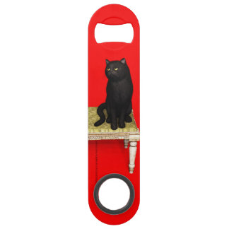 Black cat on the stool