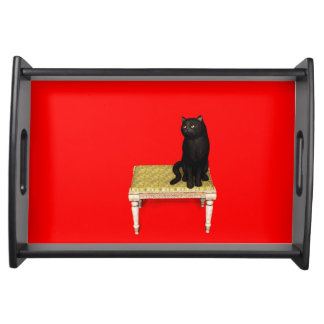 Black cat on the stool serving tray