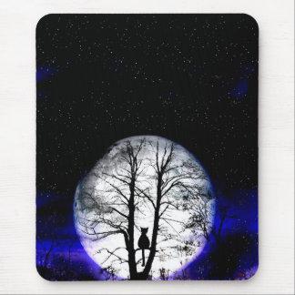 black cat on tree mouse pad