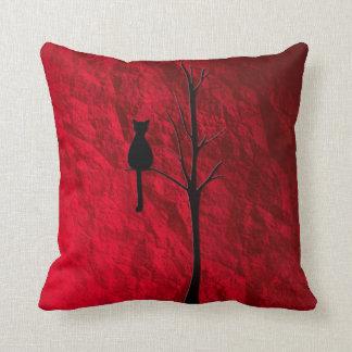black cat on tree throw pillow