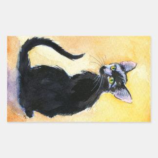 Black cat or kitten rectangular stickers