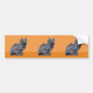 Black Cat orange cutout Sticker Bumper Sticker