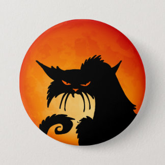 Black Cat Orange Moon 7.5 Cm Round Badge