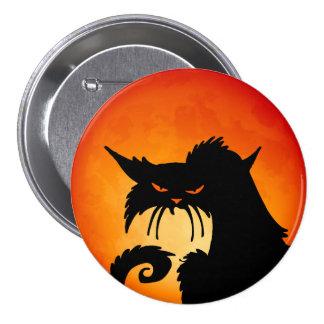 Black Cat Orange Moon 7.5 Cm Round Badge