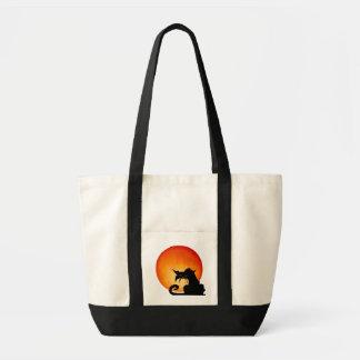 Black Cat Orange Moon Bag