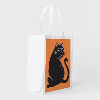 Black Cat Orange Reusable Bag
