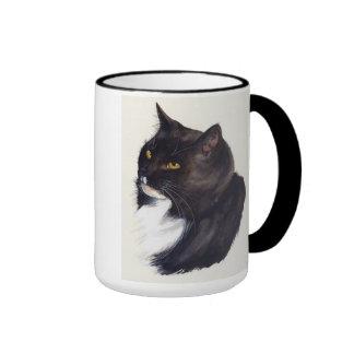 Black cat Painted in Watercolour Ringer Mug