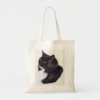 Black Cat Painted in Watercolour Tote Bag
