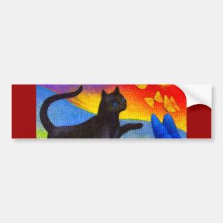 Black Cat Painting Butterflies Art - Multi Bumper Sticker