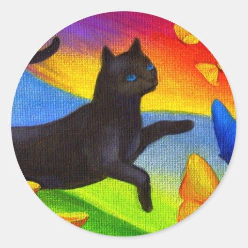 Black Cat Painting Butterflies Art - Multi Sticker