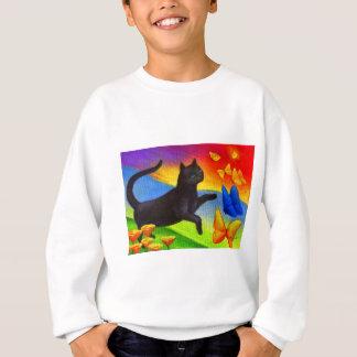 Black Cat Painting Butterflies Art - Multi Sweatshirt