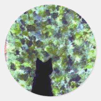 Black Cat Painting Cute Cat Art Classic Round Sticker