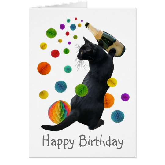 Black Cat Paper Balls Birthday Card
