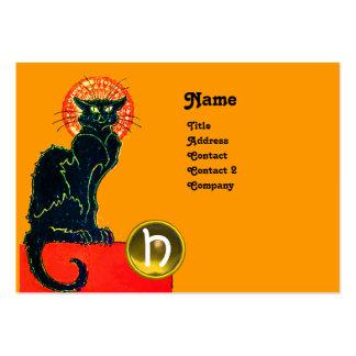 BLACK CAT PARTY MONOGRAM BUSINESS CARD TEMPLATES