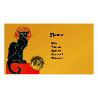 BLACK CAT PARTY MONOGRAM BUSINESS CARD TEMPLATE