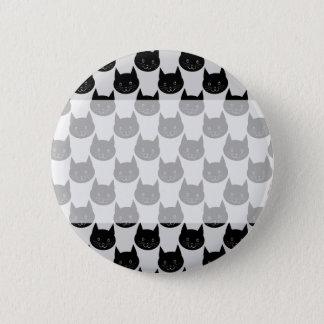 Black Cat Pattern on Light Gray. 6 Cm Round Badge