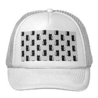 Black Cat Pattern on Light Gray. Mesh Hat