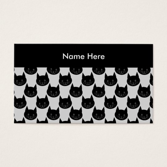 Black Cat Pattern on Light Grey. Business Card